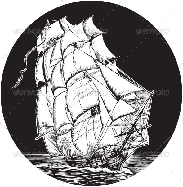 Pirate ship on ocean silhouette stock for Pirate ship sails template