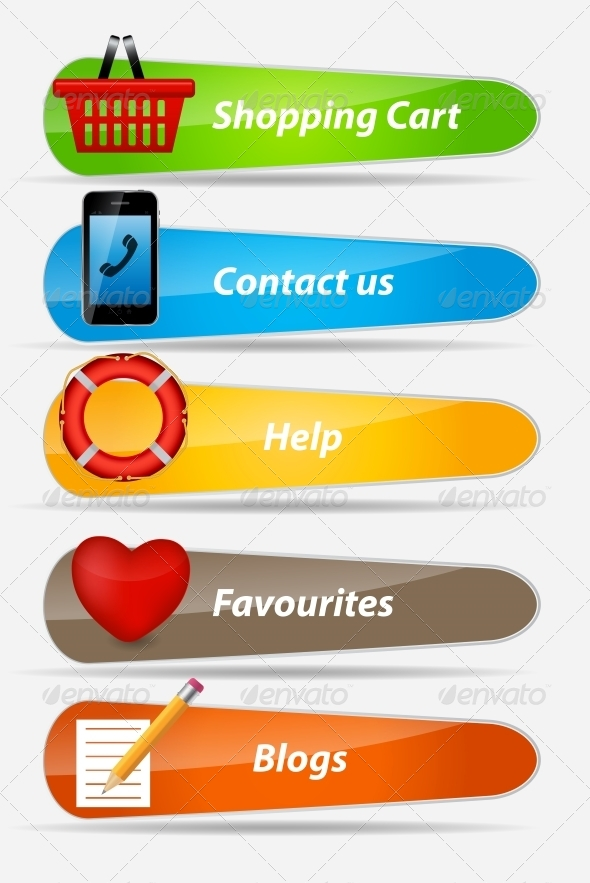 GraphicRiver Set of Buttons with Icons Vector Illustration 4930368