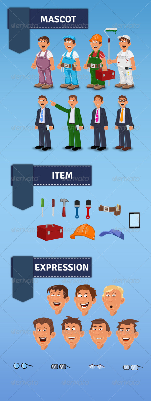 GraphicRiver Handyman Manager Mascot 4884777