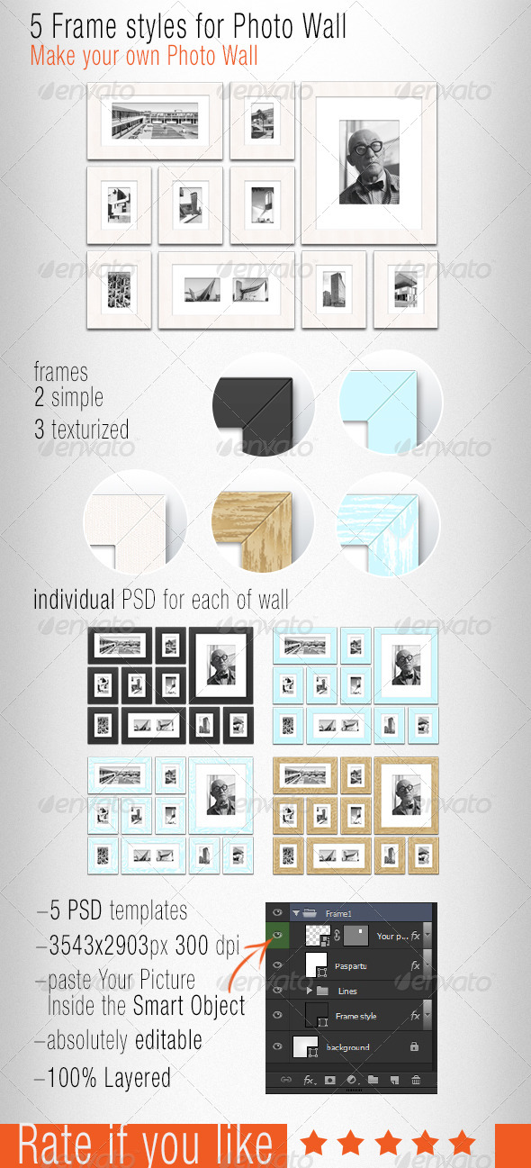 GraphicRiver 5 Frame Styles for Photo Wall 4888041