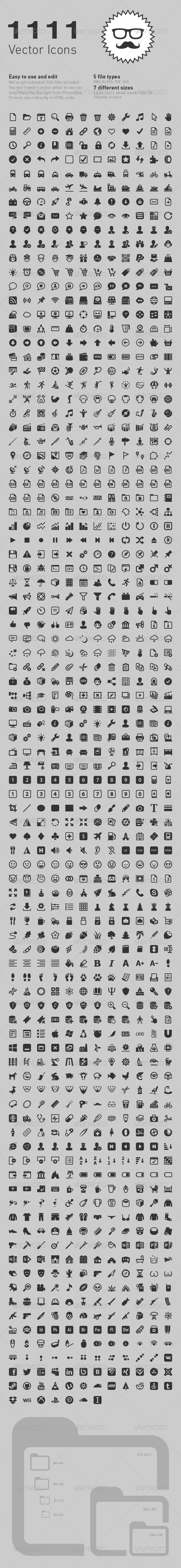 GraphicRiver 1111 vector icons 4931492
