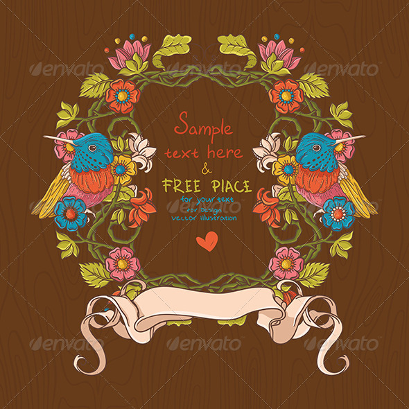 GraphicRiver Vector Floral Illustration with Birds And Flowers 4931591