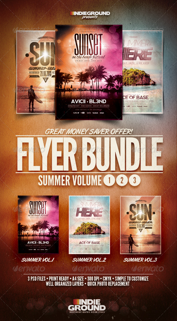 Summer Flyer/Poster Bundle Vol. 1-3 - Events Flyers