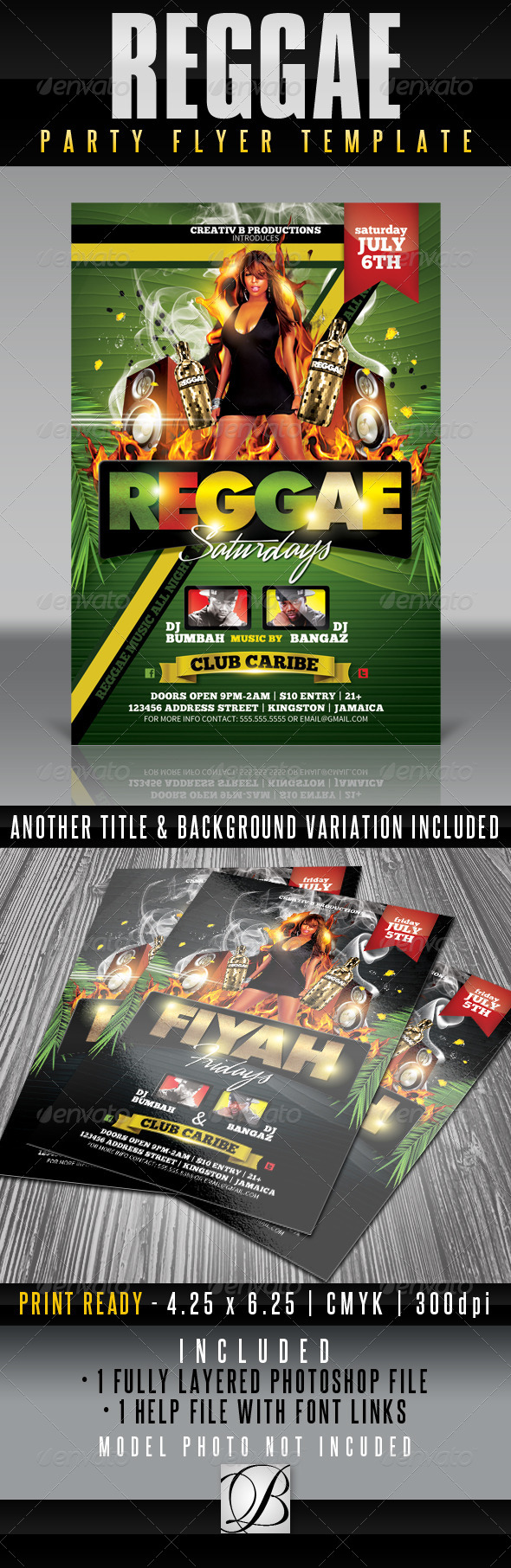 GraphicRiver Reggae Party Flyer Template 4833352
