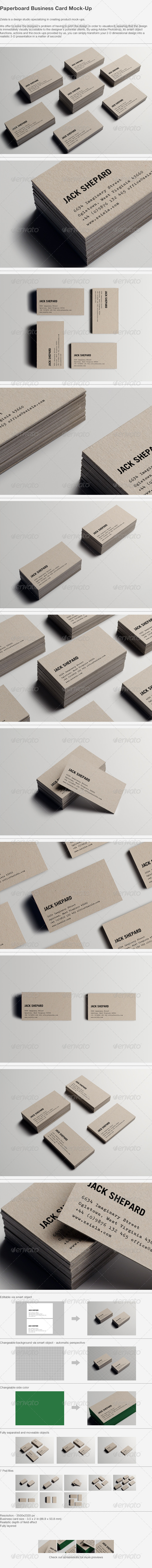 GraphicRiver Paperboard Business Card Mock-up 4932009