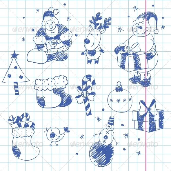 GraphicRiver Cute Christmas Doodles 4933657