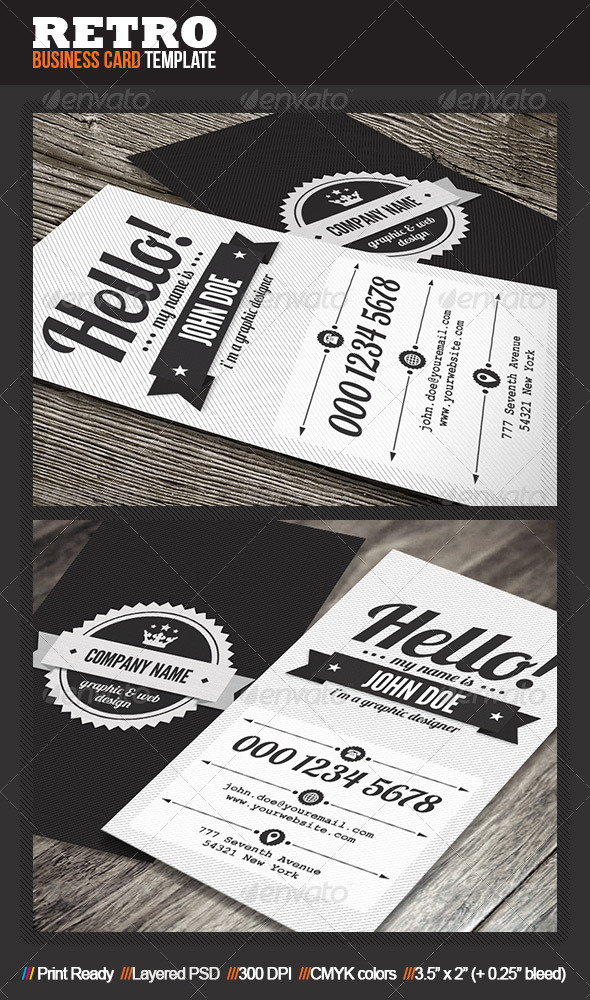GraphicRiver Clean Retro Business Card 4933687