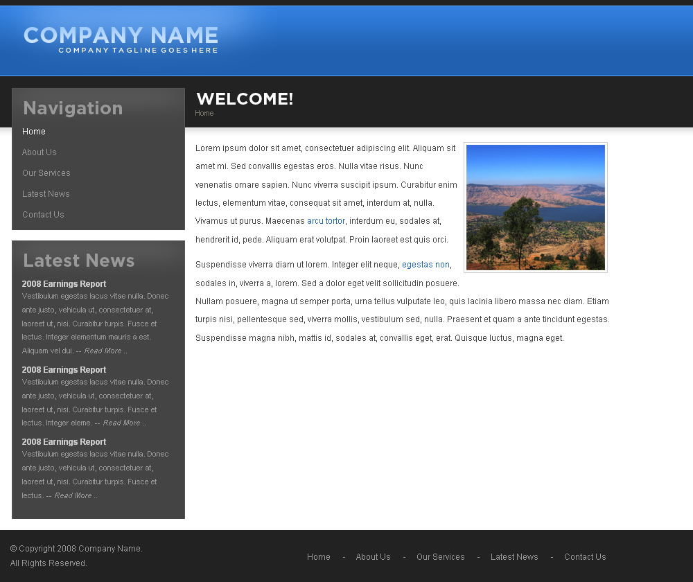Business Lite - Business Lite is a simple template that doesn't use many images and is very easy to use.  It is shown here in blue.