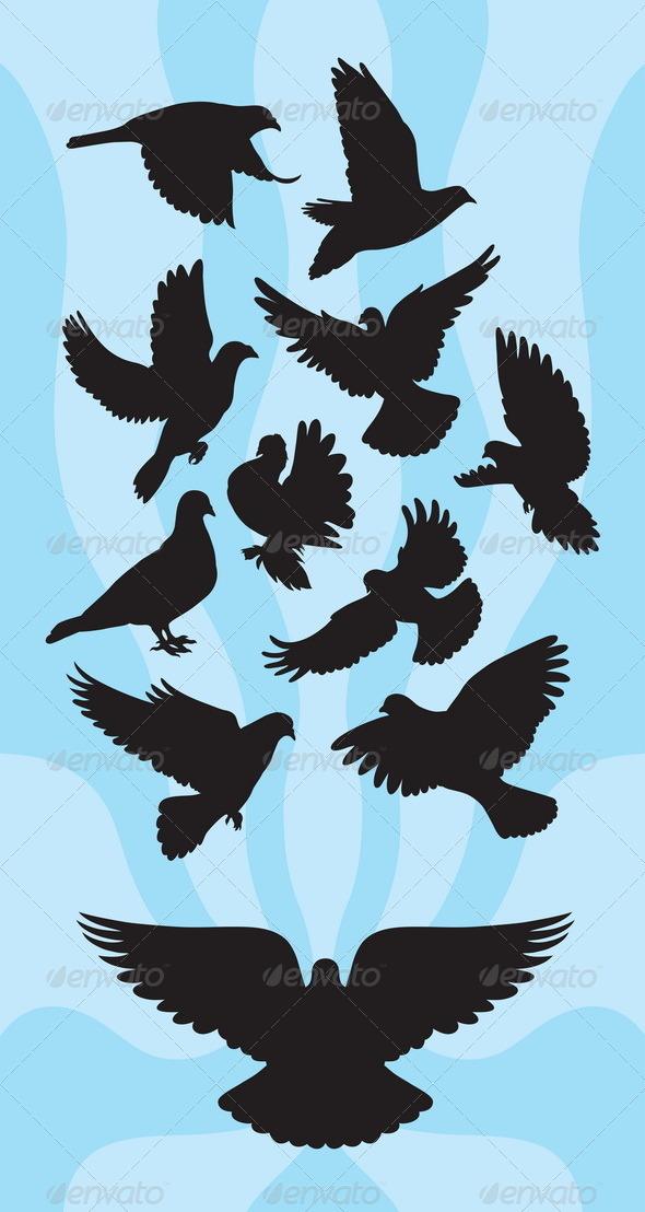 GraphicRiver Dove or Pigeon Silhouettes 4933765