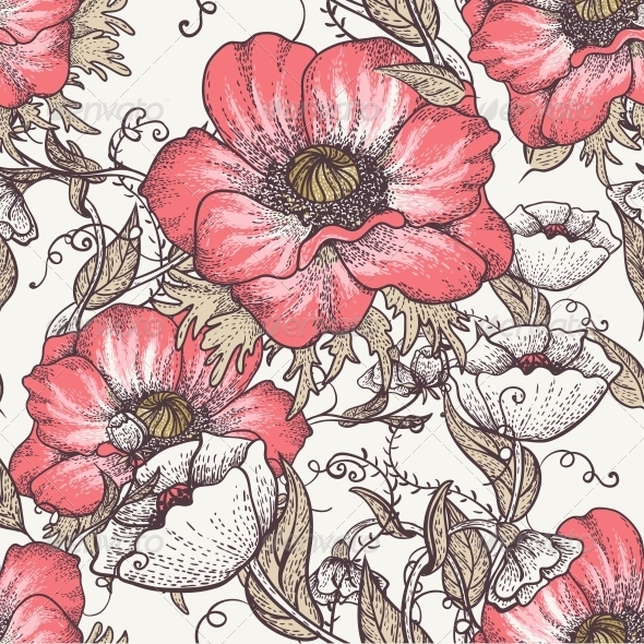 Vintage Seamless Pattern with Poppies