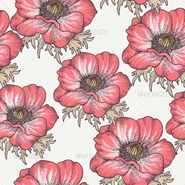 GraphicRiver Vintage Seamless Pattern with Poppies 4934006