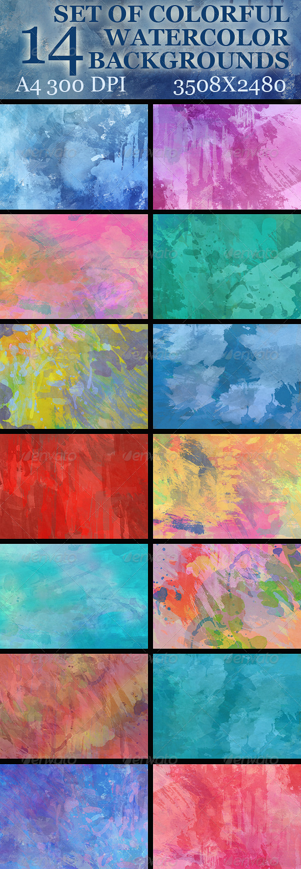 GraphicRiver Set of 14th Watercolor Backgrounds 4920142