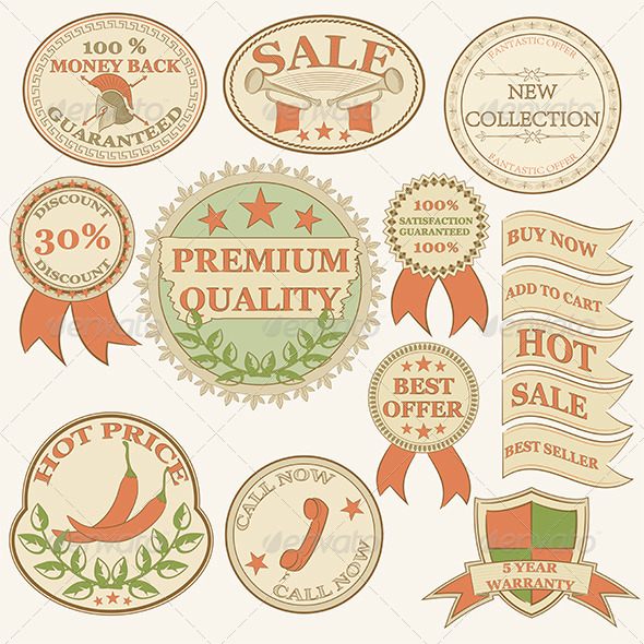 GraphicRiver Vintage Labels and Ribbon Retro Style Set 4925904