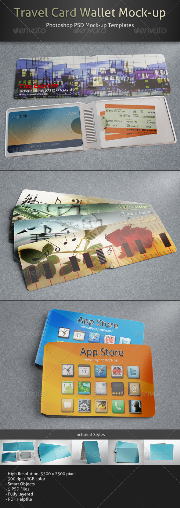 GraphicRiver Travel Card Wallet Mock-up 4935131