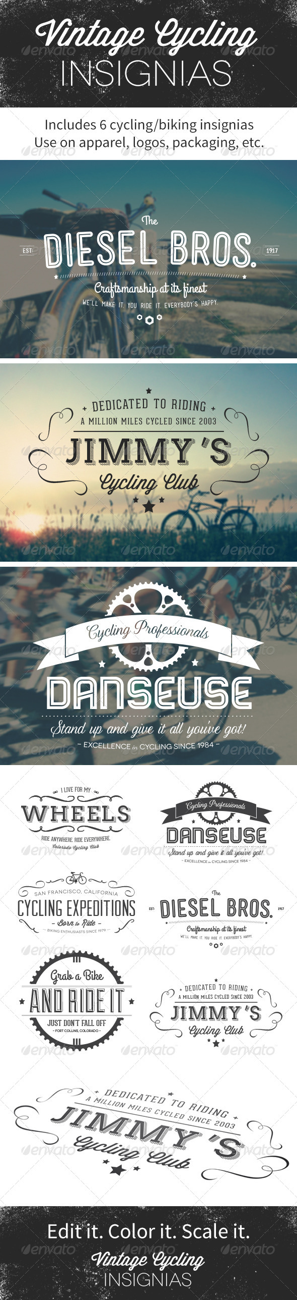 GraphicRiver Vintage Cycling Insignias Logos 4935198