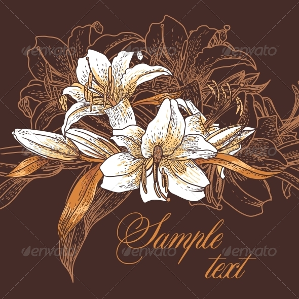 GraphicRiver Beautiful Seamless Pattern with Lilies 4935430