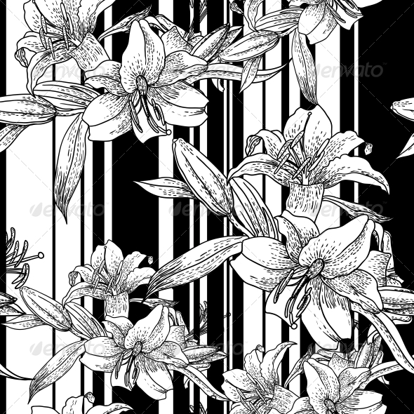 GraphicRiver Monochrome Seamless Pattern with Lily Flowers 4935446
