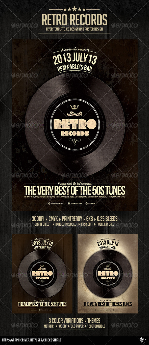 Retro Records Flyer Template - Clubs & Parties Events