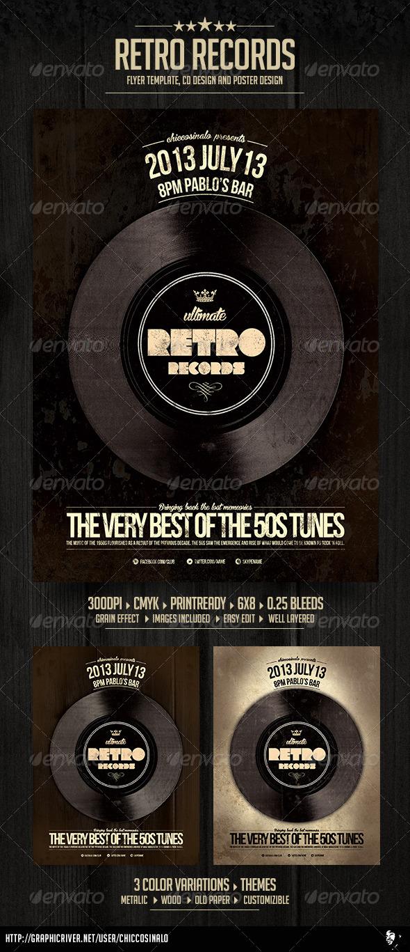 GraphicRiver Retro Records Flyer Template 4935684