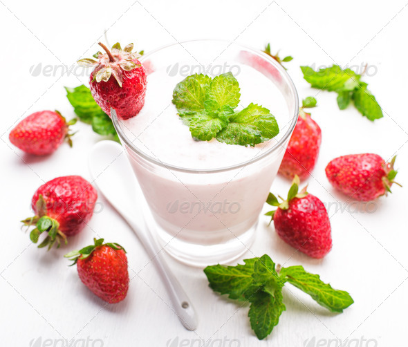 Strawberry yoghurt - Stock Photo - Images
