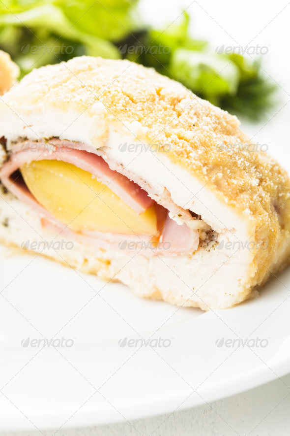 Cordon bleu - chicken cutlet - Stock Photo - Images