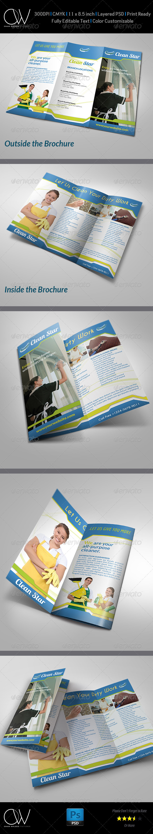 GraphicRiver Cleaning Services Tri-Fold Brochure 4869456