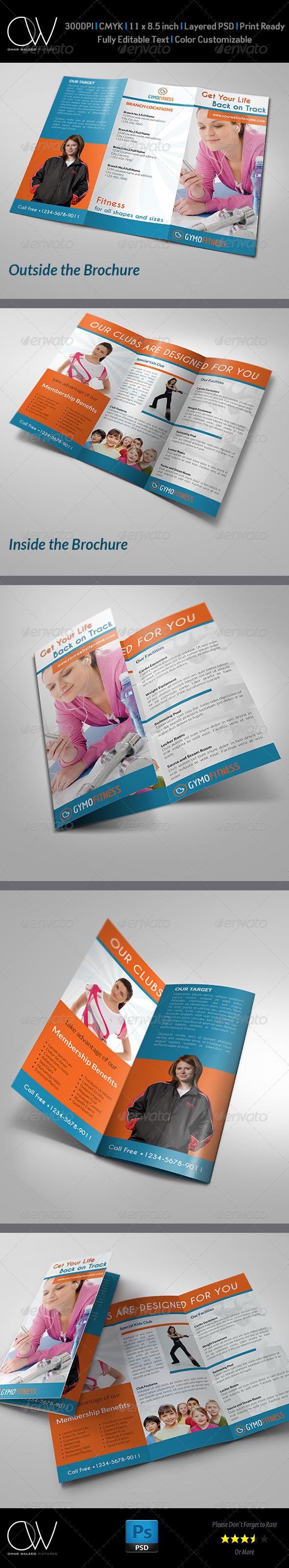 Fitness - GYM Tri-Fold Brochure - Brochures Print Templates