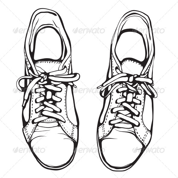 GraphicRiver Shabby Running Shoes in Black Ink 4936669