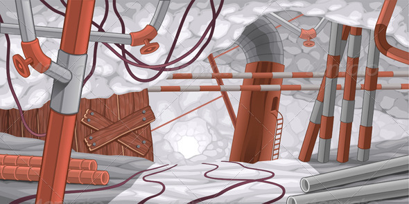 GraphicRiver Scene with Pipes and Cables Underground 4936796