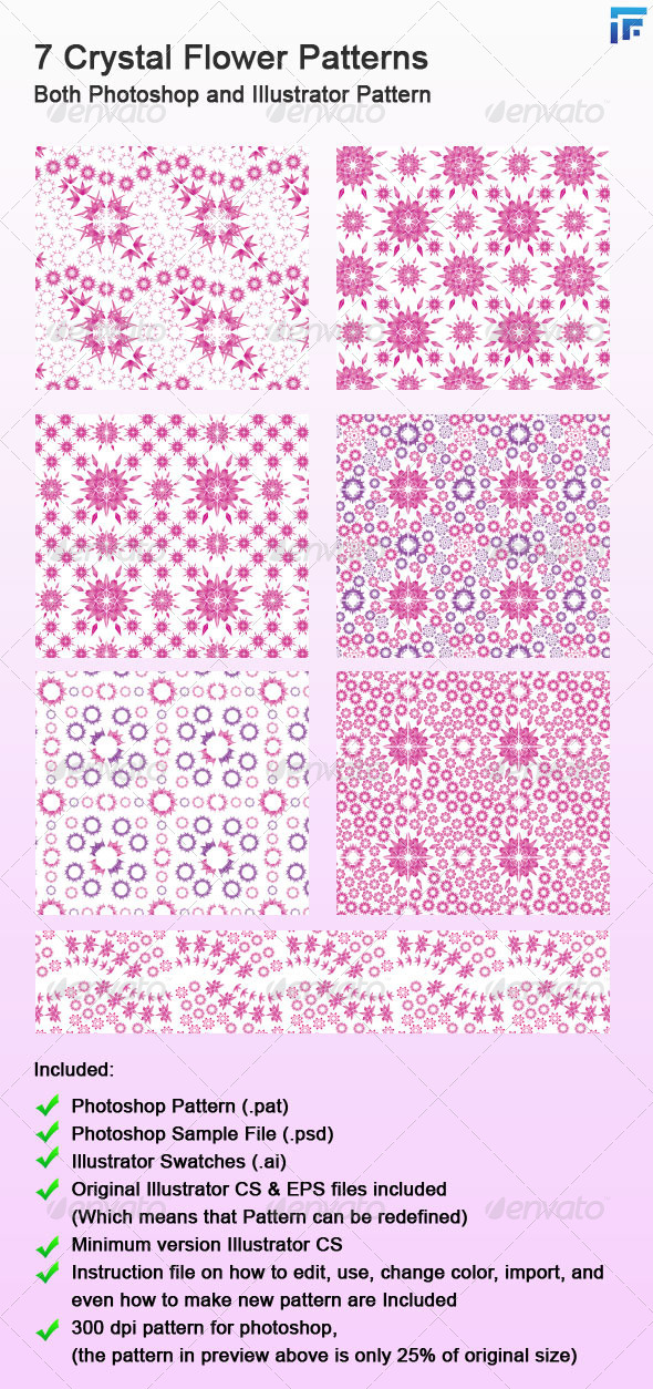 GraphicRiver 7 Crystal Flower Photoshop and Illustrator Pattern 4937706