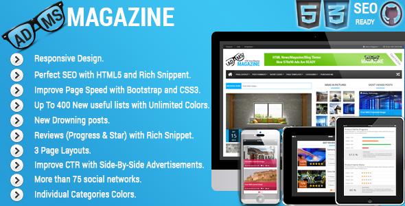 ThemeForest Adams Magazine Responsive Magazine Blog Theme 4919511