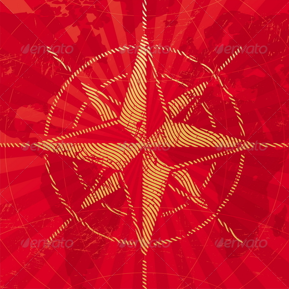 GraphicRiver Grunge Compass Rose on a Map Background 4938319