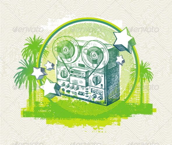 GraphicRiver Grunge Illustration with Old Reel Recorder 4938437