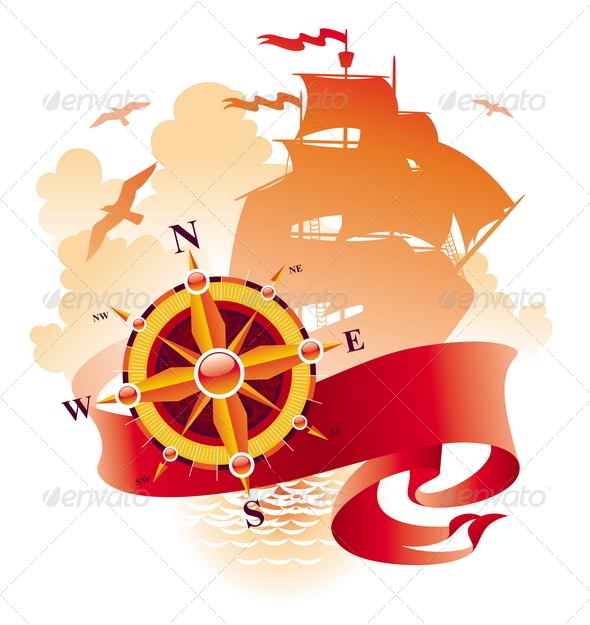 GraphicRiver Adventures Design Compass Rose & Sail Ship 4938526