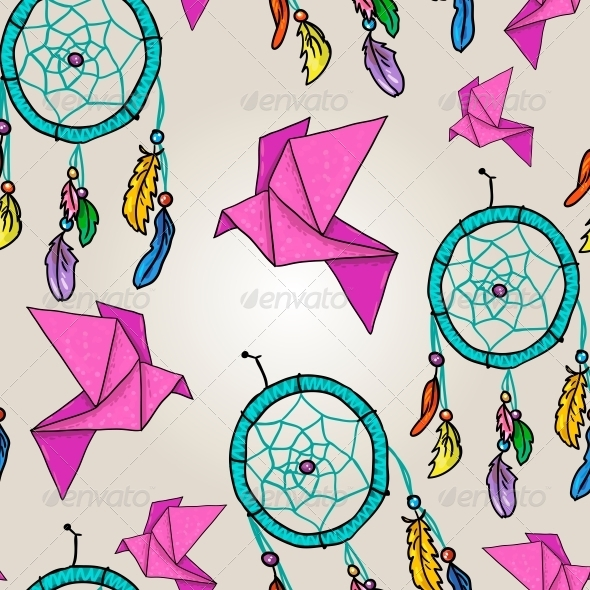 GraphicRiver Background with Origami and Dream Catchers 4938572