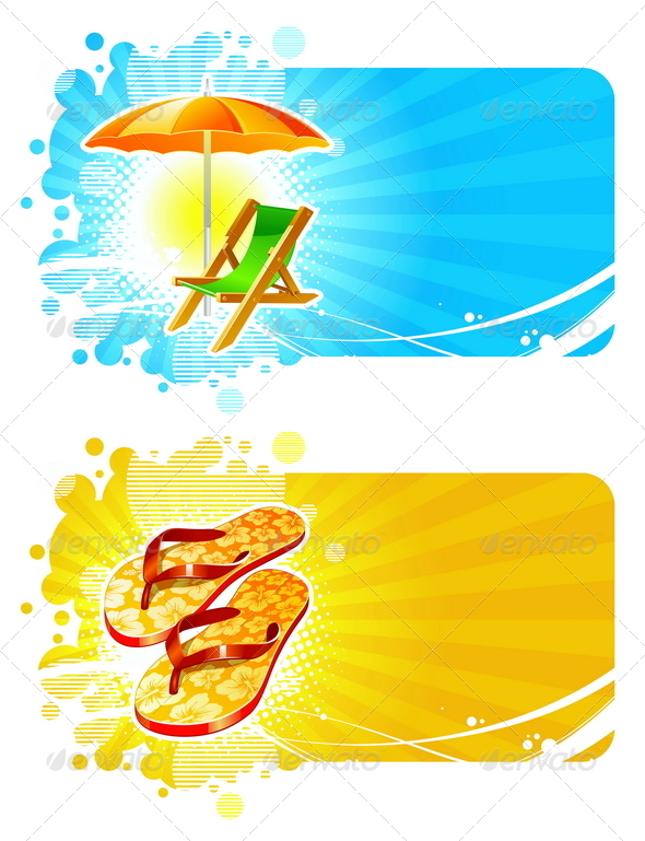 Banners with Tropical Vacation Symbols