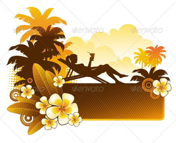 GraphicRiver Silhouette of a Girl on a Tropical Landscape 4938785