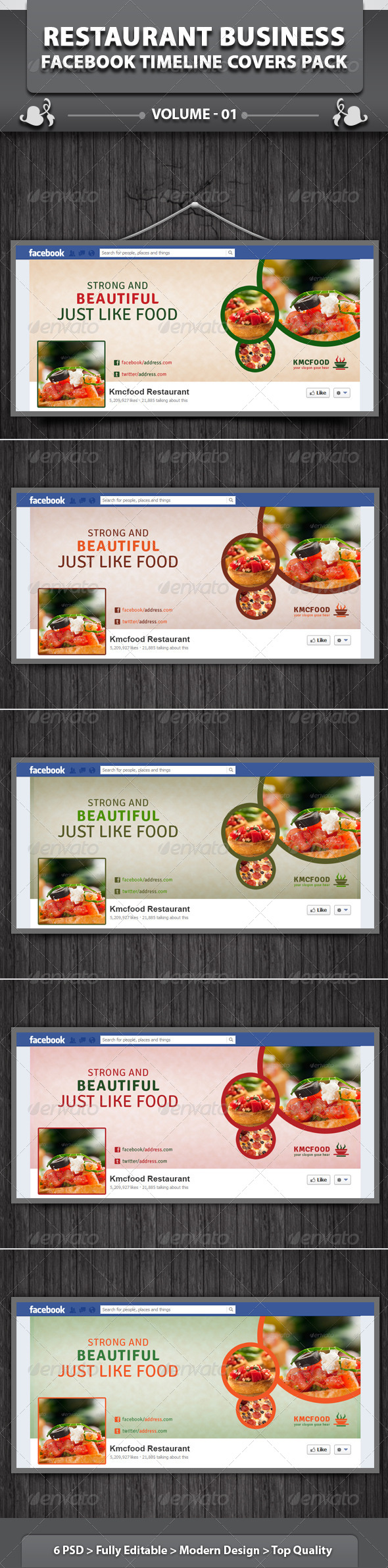 GraphicRiver Restaurant Business FB Timeline Covers Pack 4938788