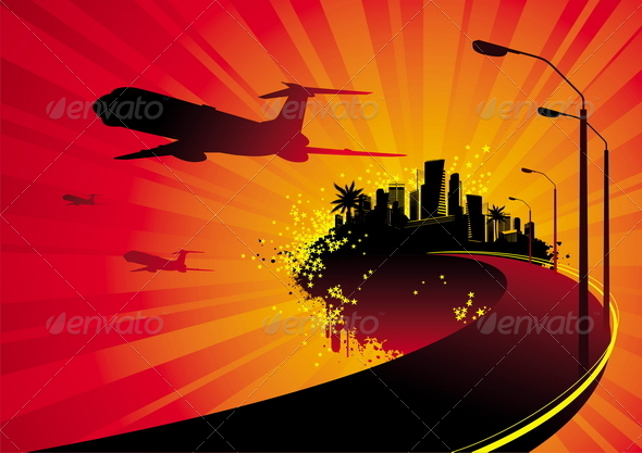 GraphicRiver Road to City on Island and Airplane Silhouettes 4938805