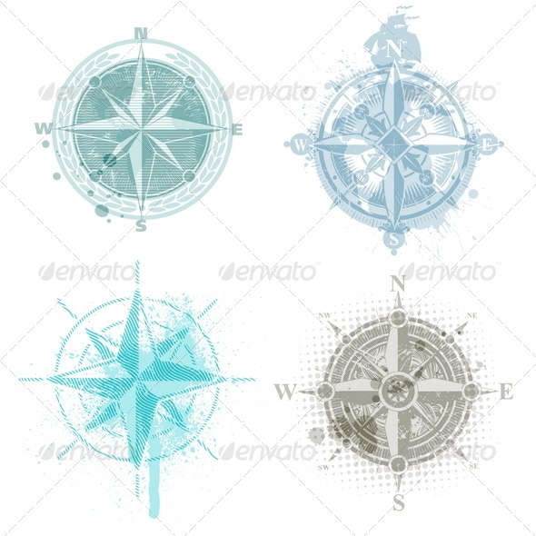 GraphicRiver Four Grunge Vintage Compass Rose 4938866