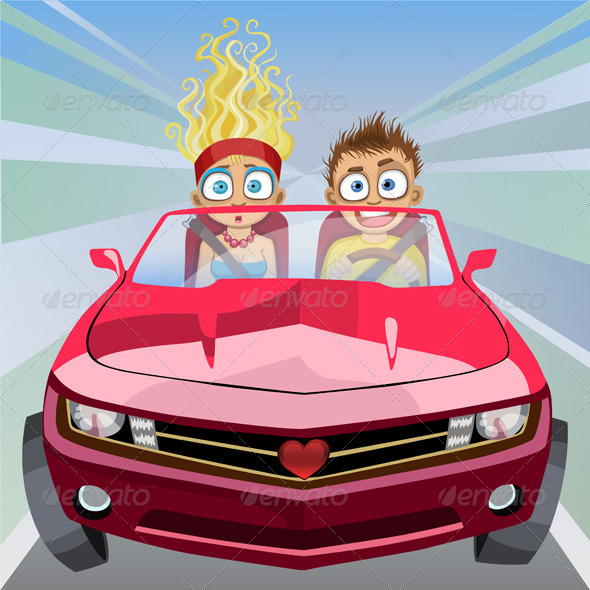 GraphicRiver Boy and Girl Riding in a Car at High Speed 4938869