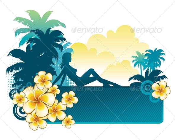 GraphicRiver Girl Silhouette on a Tropical Landscape 4938906