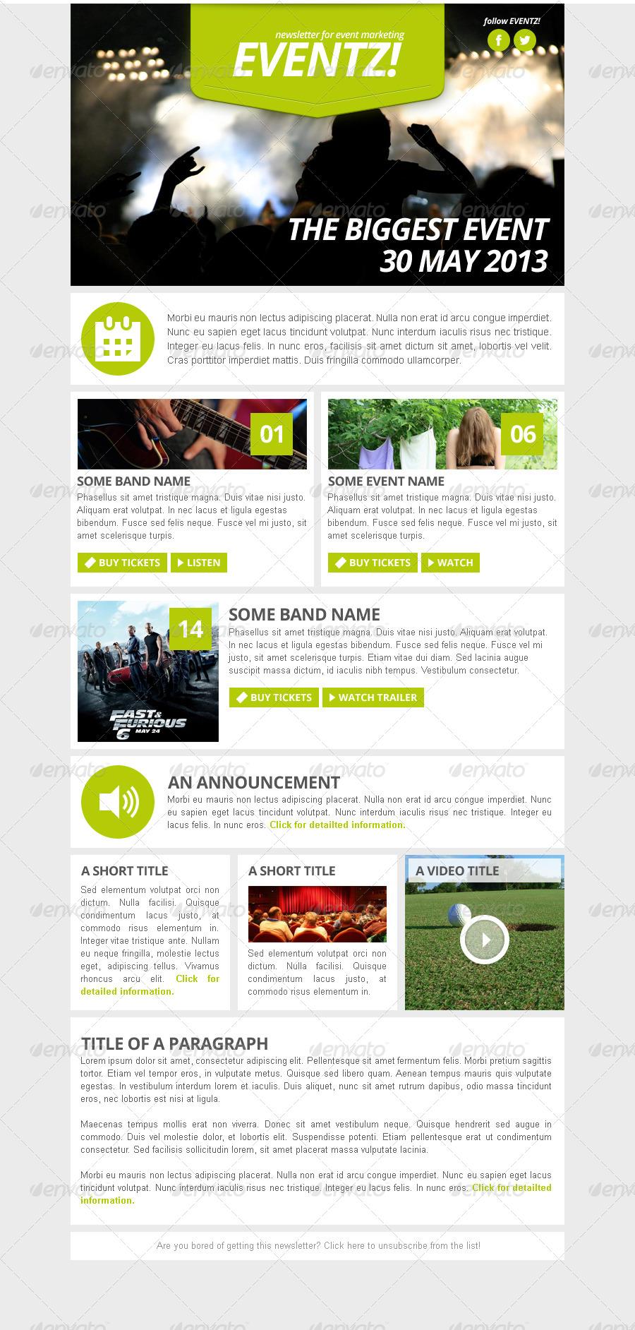 eventz event marketing newsletter template by vizivig. Black Bedroom Furniture Sets. Home Design Ideas