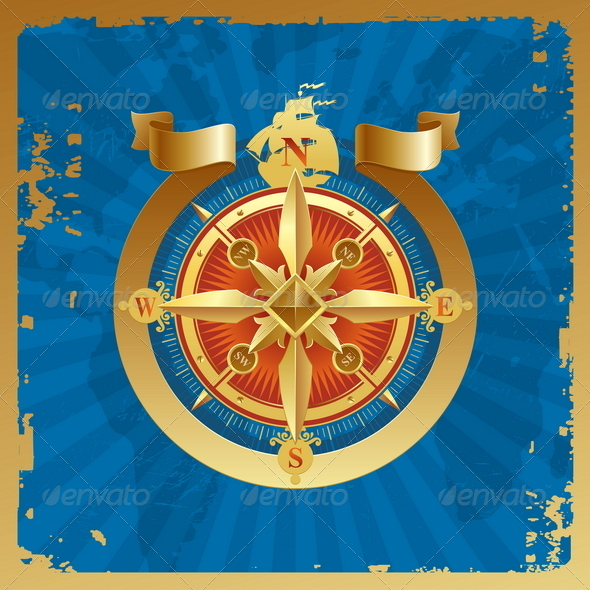 GraphicRiver Vintage Golden Compass Rose 4938934