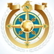Golden Compass Rose with Globe and Ribbon
