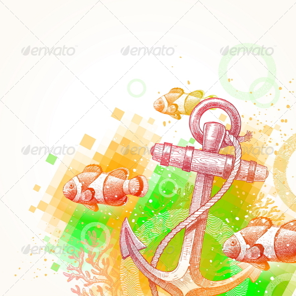 GraphicRiver Hand Drawn Anchor and Tropical Fishes 4938993