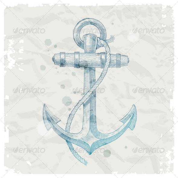 GraphicRiver Hand Drawn Anchor on Grunge Paper Background 4939028