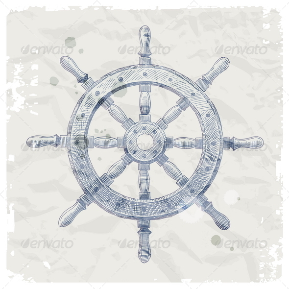 GraphicRiver Hand Drawn Vintage Ship Steering Wheel 4939061