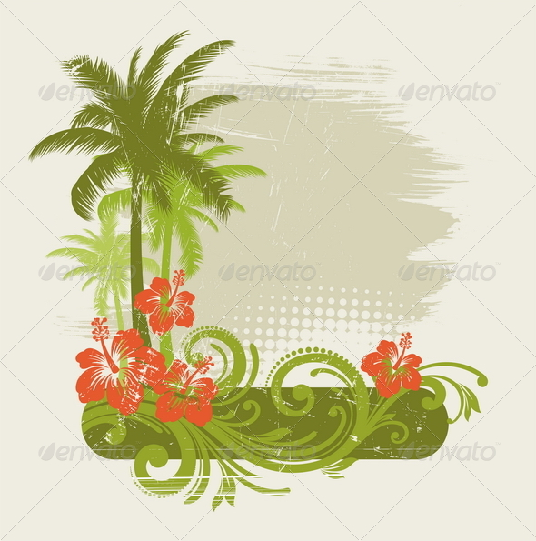 GraphicRiver Tropical Design with Floral Elements 4939072