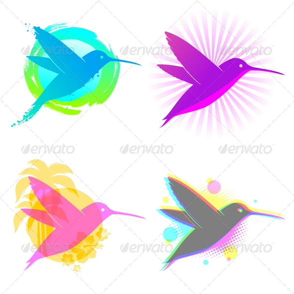 GraphicRiver Hummingbird Vector Emblems 4939075